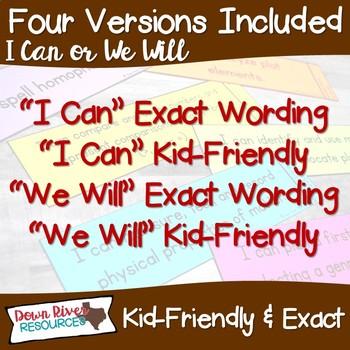 Kindergarten Reading TEKS I Can Statements {ELAR Standards}