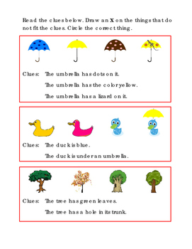 Kindergarten Reading Thinking Skills Clues Umbrellas Ducks Trees Common Core
