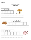 Kindergarten Reading, Tracing & Copying (Fall Words)