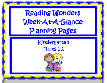 Kindergarten Reading Wonders Planning Pages