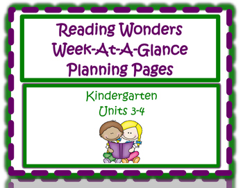 Kindergarten Reading Wonders Planning Pages Unit 3 and Unit 4