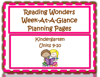 Kindergarten Reading Wonders Planning Pages Unit 9 and 10