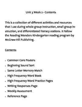 Kindergarten Reading Wonders Unit 3 Week 2