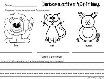Kindergarten Reading Wonders Unit 7 Writing