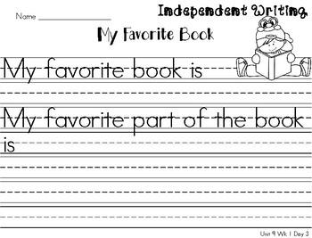 Kindergarten Reading Wonders Unit 9 Writing