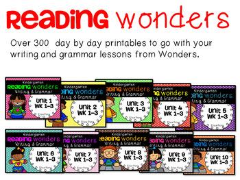 Kindergarten Reading Wonders Units 1-10 Writing Bundle