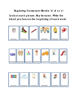 Kindergarten Reading Write Beginning Consonant Blends Lett