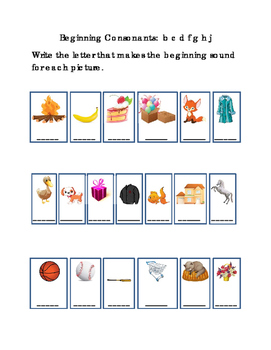 Kindergarten Reading Write Beginning Consonants Letters B C D F G H J Ea Picture