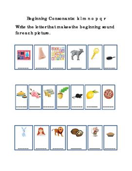 Kindergarten Reading Write Beginning Consonants Letters K L M N O P Q R Pictures