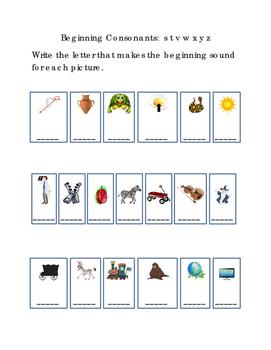 Kindergarten Reading Write Beginning Consonants Letters S T V W X Y Z Pictures