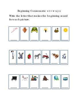 Kindergarten Reading Write Beginning Consonants Letters S T V W X Y Z Pictures