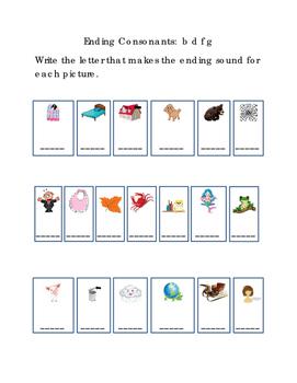 Kindergarten Reading Write Ending Consonants Letters B D F G Emergent Reader