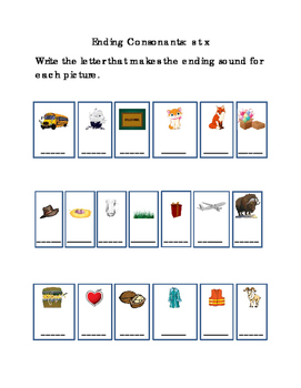 Kindergarten Reading Write Ending Consonants Letters S T X for Each Picture