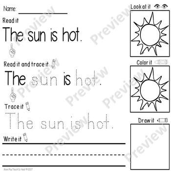 Kindergarten Reading & Handwriting Worksheets- Set 1