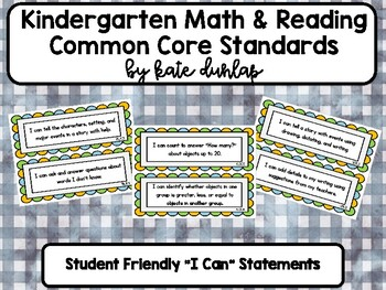 Kindergarten Reading and Math Standards