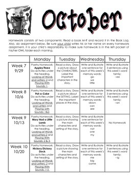 Kindergarten Reading and Writing Homework Calendar (Fast Start)