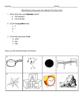 Kindergarten - Reading/Language Arts Common Core Weekly Assessment 2