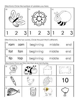 Kindergarten - Reading/Language Arts Common Core Weekly Assessment 3