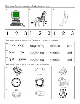 Kindergarten - Reading/Language Arts Common Core Weekly Assessment 4