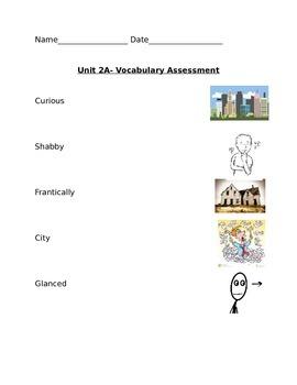 Kindergarten Ready Gen Vocabulary Assessment Unit 2 A