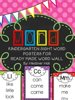Kindergarten Ready Made Word Wall Posters - Sight Words -