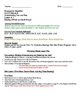 Kindergarten ReadyGen Unit 2, Module B, Lesson 1 Lesson Plans