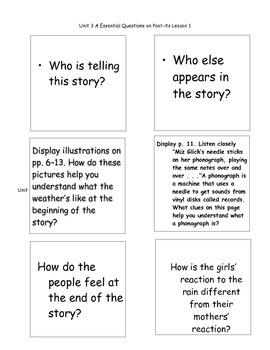 Kindergarten ReadyGen Unit 3A Essential Questions post-its