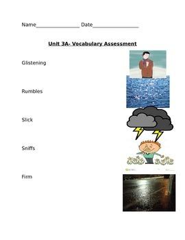 Kindergarten Readygen Unit 3A vocabulary assessment