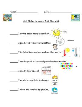 Kindergarten Readygen Unit 3B Performance Task Checklist