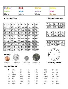 Kindergarten Reference Card Homework Helper