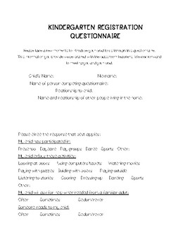 Kindergarten Registration or Round Up Questionnaire