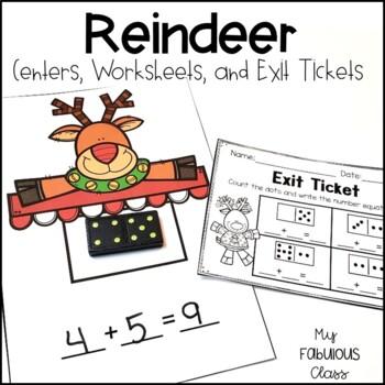 Kindergarten Reindeer Math Centers, Printables and Exit tickets