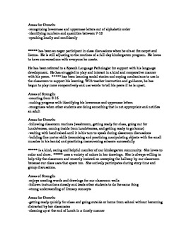 Kindergarten Report Card Comments (PDF file)