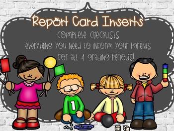 Kindergarten Report Card Insert