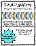 Kindergarten Report Cards Comments