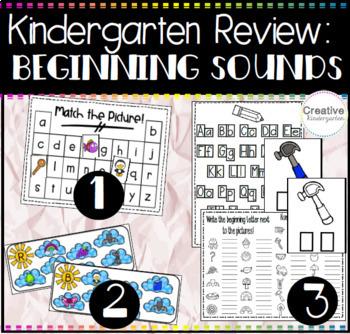 Kindergarten Review Bundle: Beginning Sound Phonics Activities for Kindergarten