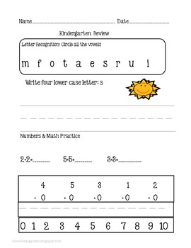 Kindergarten Review Package1