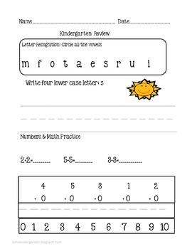 Kindergarten Review Package1