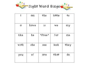 Kindergarten Review Sight Word Bingo