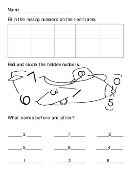 Kindergarten Review Worksheet (1-10)