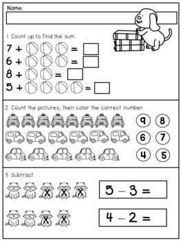 Kindergarten Review for Beginning of First Grade (Math and Literacy)