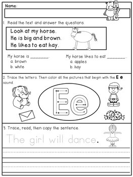Kindergarten Review for Beginning of First Grade - Back to School Pack