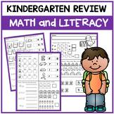 Kindergarten Review for Beginning of 1st Grade Math and Literacy