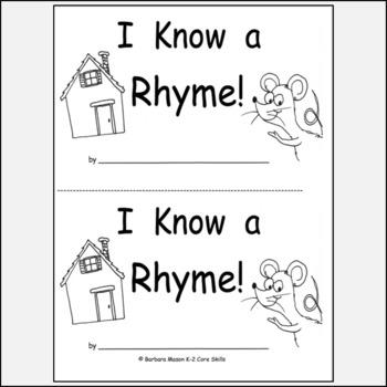 Kindergarten Rhyme Reproducible Printable Book K.RF.2a by barbiew66