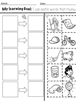 Kindergarten Rhyming Activities with Learning goals