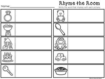 Kindergarten Rhyming Center - Rhyming Literacy Center - Write the Room