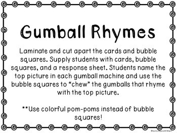 Kindergarten Rhyming Literacy Center - Gumball Rhymes