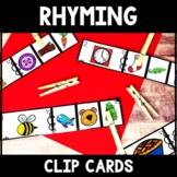Kindergarten Rhyming Word Center - Rhyming Clip Cards - Rhyming Literacy Center