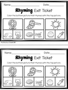 Kindergarten Rhyming Words Exit Tickets