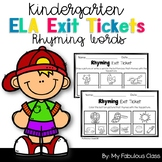 Kindergarten Rhyming Words Exit Tickets